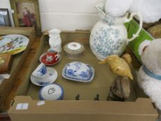 TRAY CONTAINING CERAMIC ITEMS INCLUDING A ROYAL COPENHAGEN FLORAL DESIGN CUP AND SAUCER ETC