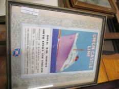 FRAMED UNION CASTLE LINE SHIPPING INTEREST SMALL POSTER