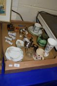 BOX CONTANING CERAMIC ITEMS INCLUDING MELBA WARE SIDE PLATES, CONTINENTAL PORCELAIN MODEL OF A