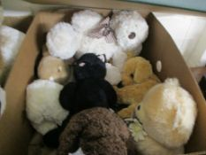 BOX OF SOFT TOYS, VARIOUS TEDDYS, RABBITS ETC