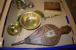 METAL WARES INCLUDING A BRASS TAPER STICK AND A PAIR OF BELLOWS