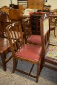 PAIR OF EARLY 20TH CENTURY OAK SLAT BACK DINING CHAIRS