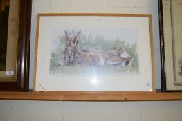 WATERCOLOUR OF A HARE IN LIGHT OAK FRAME
