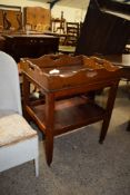 MAHOGANY TWO-TIER TROLLEY WITH TRAY TOP, 61CM WIDE