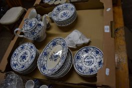 BLUE AND WHITE DINNER WARES BY JOHNSON BROS IN THE INDIES PATTERN COMPRISING BOWLS, SIDE PLATES, TEA