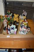 BOX OF REPRODUCTION STAFFORDSHIRE WARES INCLUDING TEDDY BEAR AND HIGHLANDER GROUP
