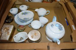 BOX OF TEA WARES INCLUDING PART SHELLEY TEA SET IN PATTERN NO 2394