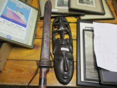 "LARGE c19TH TRIBAL KNIFE, BLADE APP 19"" WITH LEATHER SHEATH TOGETHER WITH"