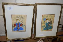 TWO ORIENTAL STYLE WATERCOLOURS OF ORIENTAL GENTLEMEN