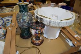 POTTERY TABLE LAMP AND SHADE TOGETHER WITH A FURTHER LAMP