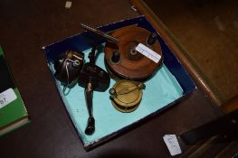 FISHING REELS INCLUDING ONE WOODEN EXAMPLE