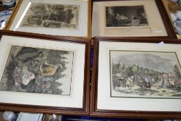 BOX OF ENGRAVINGS AND PRINTS INCLUDING WOOD HAND COLOURED BLOCK ENGRAVING FROM THE ILLUSTRATED
