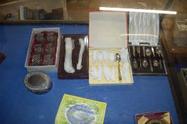 TWO CASED SETS OF PLATED TEASPOONS