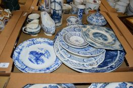 BLUE AND WHITE CERAMIC WARES INCLUDING DUTCH DELFT STYLE FLASK, SERVING DISHES AND DINNER WARES