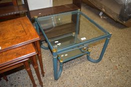 MODERN GLASS TWO-TIER OCCASIONAL TABLE, 54CM WIDE