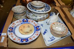 TRAY CONTAINING CERAMIC PLATES AND SAUCERS ETC, SOME ROYAL DOULTON AND GRAINGER WORCESTER