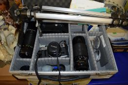 BOX CONTAINING PHOTOGRAPHIC EQUIPMENT INCLUDING LENS MADE BY CANON AND A CANON CAMERA ETC IN