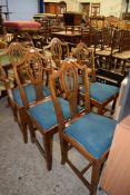 SET OF FIVE REPRODUCTION HEPPLEWHITE STYLE DINING CHAIRS, GREEN CHECK UPHOLSTERED DROP IN SEATS