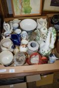 BOX CONTAINING VARIOUS CERAMIC ITEMS INCLUDING POTTERY MODEL OF A SWAN, LARGE POTTERY WASTE BOWL