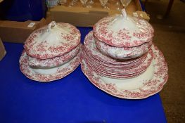 LATE 19TH CENTURY DINNER WARES INCLUDING TUREENS AND COVERS, SERVING DISH, DINNER PLATES AND SIDE