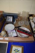BOX CONTAINING CERAMIC ITEMS INCLUDING A JAR AND COVER AND SOME GLASS WARE
