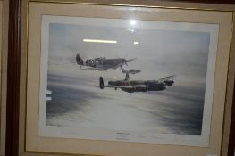 PRINT OF THE MEMORIAL FLIGHT FEATURING A LANCASTER, HURRICANE AND SPITFIRE WITH SIGNATURES TO MOUNT