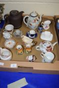 TRAY CONTAINING VARIOUS CERAMIC ITEMS INCLUDING COALPORT CUP AND SAUCER, JAPANESE PORCELAIN TEA POT