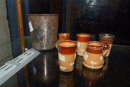 PLATED BEAKER AND MINIATURE DOULTON HARVEST WARE PIECES INCLUDING THREE BEAKERS AND TWO JUGS