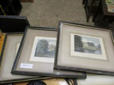 SET OF 3 COLOURED ENGRAVINGS CAMBRIDGE COLLEGES AND FRAMED SMALL MAP HUNTINGDONSHIRE AND VAR