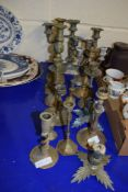 BRASS AND PLATED CANDLESTICKS AND CANDELABRA