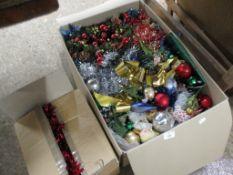 BOX OF CHRISTMAS DECORATIONS, TINSEL ETC