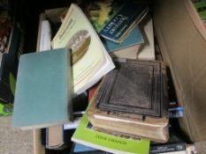 BOX OF MIXED BOOKS INCLUDING A VICTORIAN BIBLE ETC
