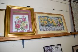 TWO MODERN RELIEF PICTURES OF FLOWERS