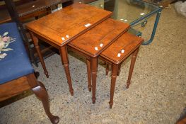 NEST OF THREE REPRODUCTION TABLES, LARGEST 50CM WIDE