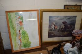 HUNTING PRINTS ETC IN BLACK AND GILT FRAMES