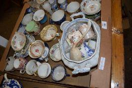 CERAMIC ITEMS INCLUDING 19TH CENTURY LONDON SHAPED TEA CUPS ETC