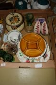 QUANTITY OF POTTERY ITEMS AND SOME GLASS WARES INCLUDING A CAKE STAND WITH PLATED MOUNT