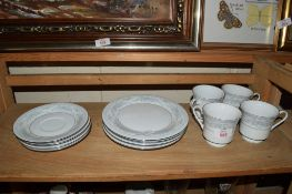 QUANTITY OF CHINA TEA WARES, FOUR CUPS, SAUCERS AND SIDE PLATES