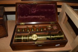 BOX CONTAINING BRASS TELESCOPE AND ACCESSORIES