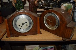 PAIR OF WOODEN MANTEL CLOCKS MADE BY ENFIELD