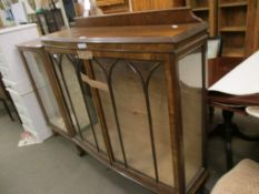 MAHOGANY BOW FRONTED GLAZED DISPLAY CABINET, 118CM WIDE