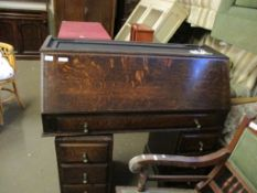 VINTAGE OAK TWIN PEDESTAL DESK, 108CM WIDE