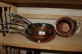 GROUP OF COPPER FRYING PANS