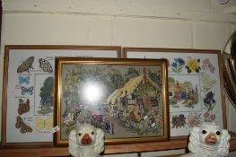 EMBROIDERED PICTURE OF A RURAL SCENE IN GILT FRAME