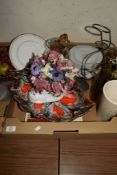 TRAY CONTAINING MAINLY CHINA ITEMS AND A GLASS JUG
