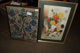 FRAMED PIECE OF EMBROIDERY OF A FLORAL DISPLAY AND FURTHER PICTURE OF FLOWERS IN LIGHT OAK FRAME