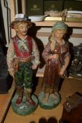 PAIR OF PAINTED SPELTER FIGURES OF A EUROPEAN COUPLE