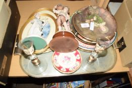 COALPORT COLLECTORS PLATES FROM THE PEARS SERIES, TOGETHER WITH TWO GLASS CANDLESTICKS ETC