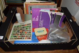 BOX CONTAINING VARIOUS SEWING AND NEEDLEWORK ITEMS INCLUDING BOOKS ON NEEDLEWORK
