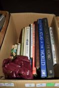 BOX OF MIXED BOOKS INCLUDING ATLASES AND ORDNANCE SURVEY MAPS